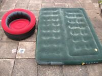 Coleman Comfort AirBed Inflatable Double Mattress & single chair - great for Camping or Festivals