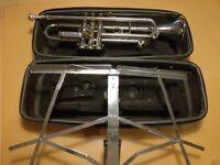 Trumpet complete with case and music stand