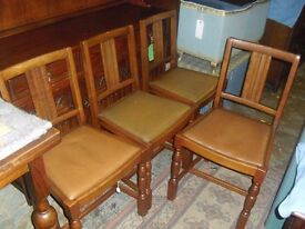 Lovely Set Of 4 Oak 50's Era Dining Chairs