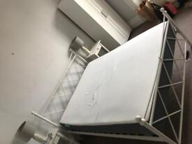 King size white metal bed frame for sale