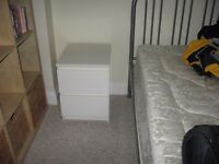 Ikea white bedside cabinet in excellent care, used in guest bedroom