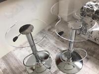 Clear bar stools x2