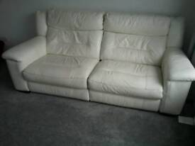 Cream 3 seater electric reclining settee
