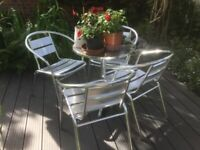 Aluminium Bistro Chairs and Table