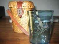 French Spa Water Vichy Turquoise Glass, Original Handmade Wicker Basket, 19th Century - EXCELLENT