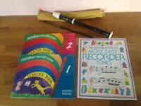 Recorder, with case and 3 tutorial books