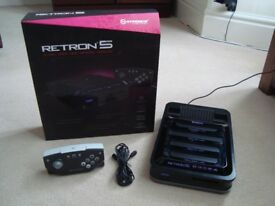 Boxed black Retron 5 console, wireless controller and 2GB MicroSD card
