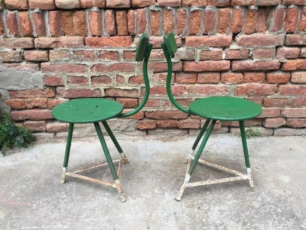 Set of 2 factory metal frame chairs machinists seats industrial seating rare