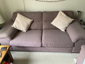 M&S Brown 3 Seater Sofa, Armchair & Footstool