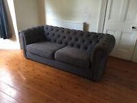 3 Seater Grey Chesterfield Sofa