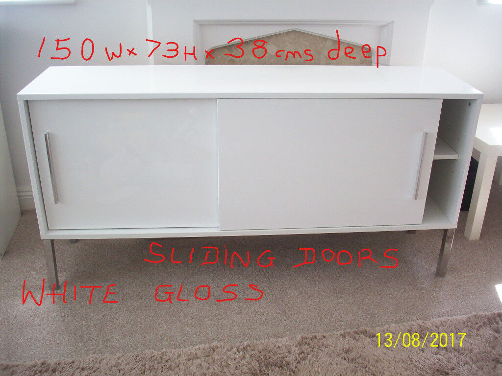 Sold stc reduced to 58 ikea smart looking white gloss for White gloss sideboards at ikea