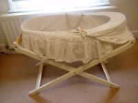 Mothercare White Moses Basket and Wooden Stand. Only used a handful of times. Great Condition.