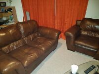 Brown leather 2 seater and armchair