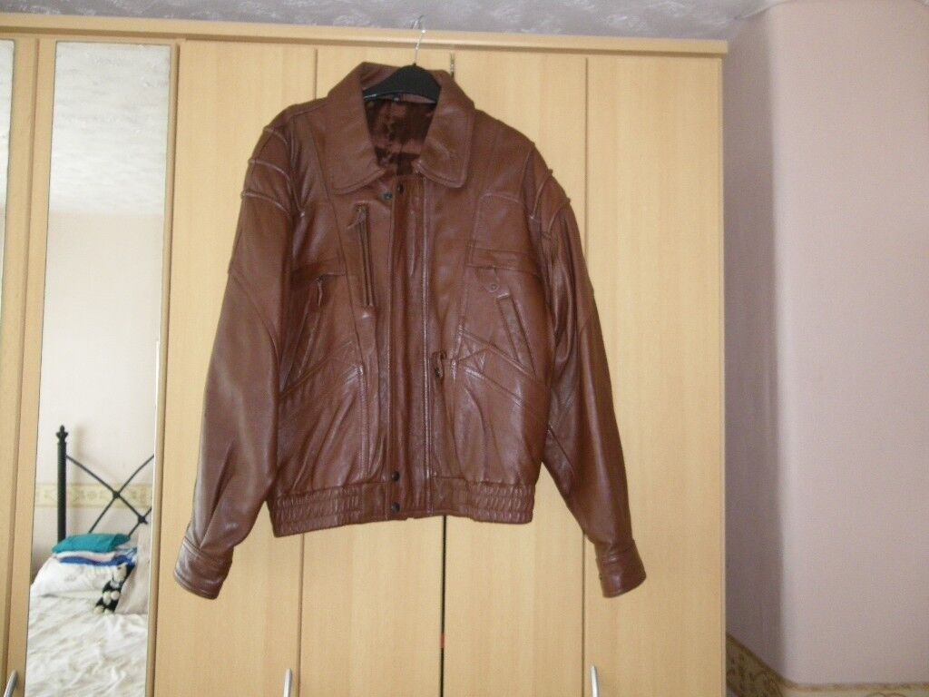 100% brown leather jacket size 38""