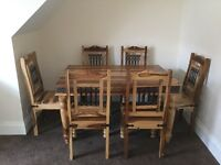 Oak table plus 6 chairs