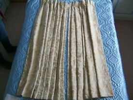 Pair of two tone, beige, Jacquard Curtains.