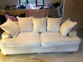 Sturdy Cotton Weave Soft White Modern 3 Seater Sofa with Feathered Seat & Back Cushions