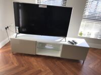 High Gloss TV Unit White and Beige
