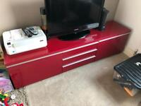 Red TV stand.