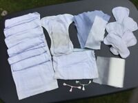 Large bundle Cloth nappies, liners and fasteners
