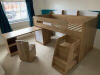 Mid Sleeper bed with storage