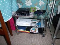 lovely Chrome and Glass tv stand and small matching Unit