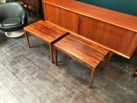 SAFE DELIVERY AVAILABLE- 2 Danish Extending Coffee / Side Tables in Rosewood. Vintage Mid Century