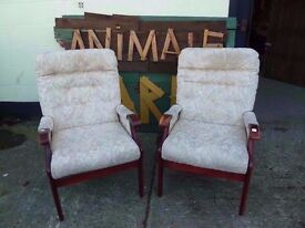 2 x Fabric Dark Wood Frame Armchairs Delivery Available £15