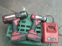 2 x Snap on impact wrenchs 3/8 and 1/2 inch drive charger and 2 batteries in working order