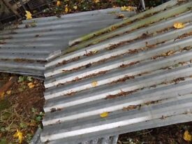 4 large pieces of corrugated steel, all over 2 metres long x 110cm