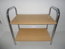 Chrome and Pine Shelf Modern Unit