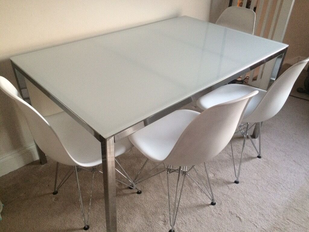 IKEA Torsby Table 4 X Eames Eiffel Dining Chairs Excellent Condition Dwell Habitat