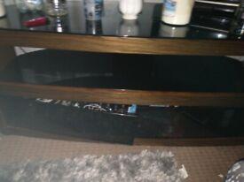 Walnut and black gloss media cabinet