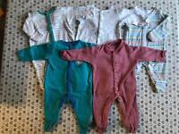 Colourful newborn sleepsuits x 5