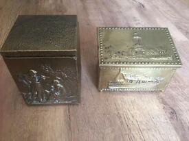 2 brass tea caddys lined