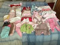 Large boundle of baby girl clothes size 0-3 months