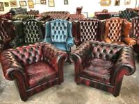 Fantastic pair of oxblood leather chesterfield club chairs UK delivery