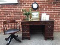 Antique OAK Captains Desk Chair Office Swivel Leather Chesterfield Victorian