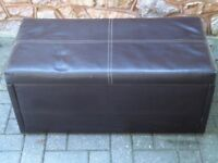 Faux brown leather storage seat - blanket or toy box bargain