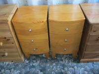 QUALITY ORNATE TALL SOLID PINE BOW FRONTED PAIR BEDSIDE CABINETS. STURDY. VIEWING/DELIVERY AVAILABLE