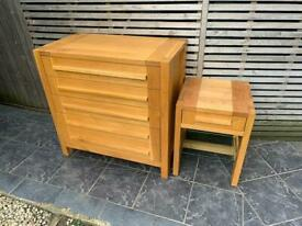 Sonoma Solid Oak chest of drawers and bedside table