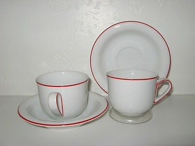 FITZ Floyd Rouleau Red Trim Cup Saucer Set of 4 Mint