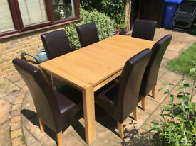 Pine Coloured Extendable Dining Table and set of 6 Brown High Back Chairs
