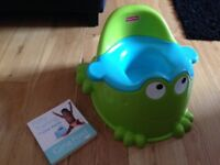 Fisher Price My Froggy Frog Potty & Gina Ford's Boys 'Potty Training in 1 Week' Book - Exc Cond