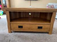 Corner TV unit Oak Furniture Land rustic solid oak
