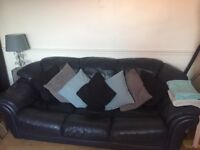 Navy/Black Leather Sofas 3 Seater + X2 1 Seater £90 FOR ALL