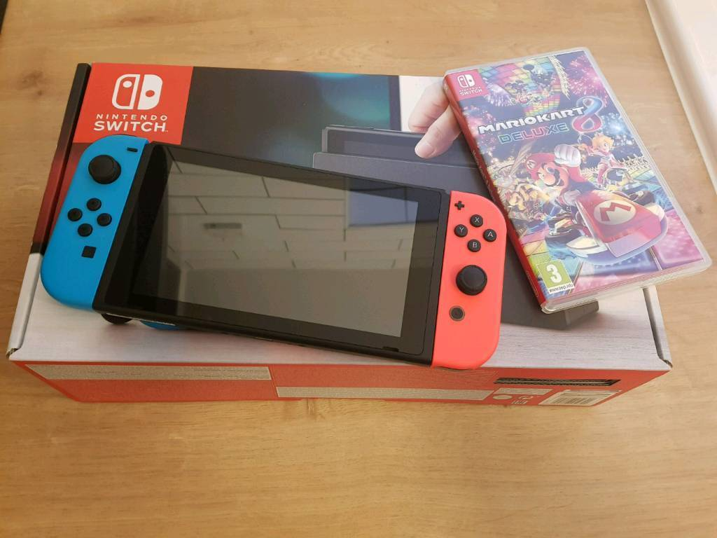 Nintendo Switch with Mario Kart game