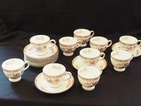 Kutani Crane china cups and saucers