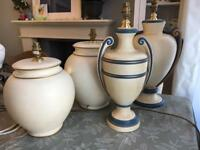 4 large Cream lamps