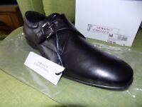 Brand New Versace Black/Gunmetal Strap Shoe (Size 9) £140.00